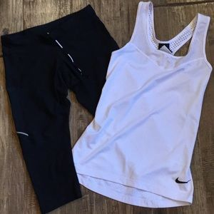 Ladies Nike running set of pants and tank.
